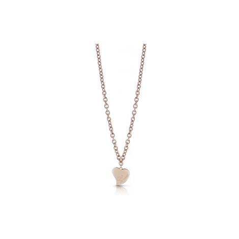 Guess Bronzový náhrdelník s veľkým srdcom UBN28061