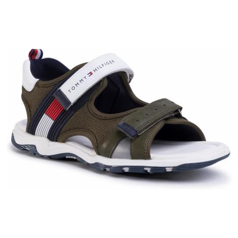 Sandále TOMMY HILFIGER - Velcro Sandal T3B2-30740-0937 S Military Green/White X490