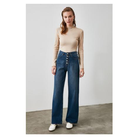 Trendyol Blue Front Button High Waist Wide Leg Jeans Navy