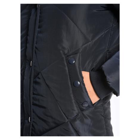 GATE Dlhá prešívaná vatovaná bunda s odopínateľnou umelou kožušinou