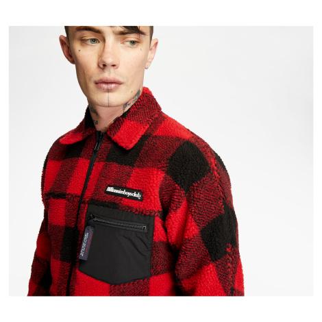 Billionaire Boys Club Fleece Check Zip Shirt Red