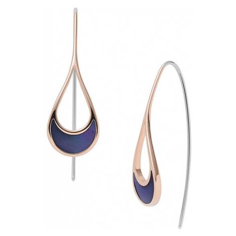 Skagen Dámske bronzové náušnice s modrou perleťou SKJ1361791