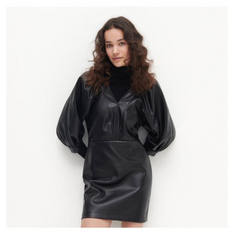 Reserved - Šaty z eko kože - Čierna