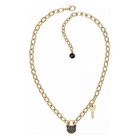 Karl Lagerfeld Masívny pozlátený náhrdelník Lock & Key