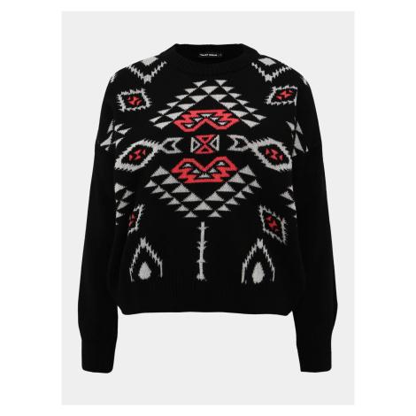 Čierny vzorovaný sveter TALLY WEiJL Aztec