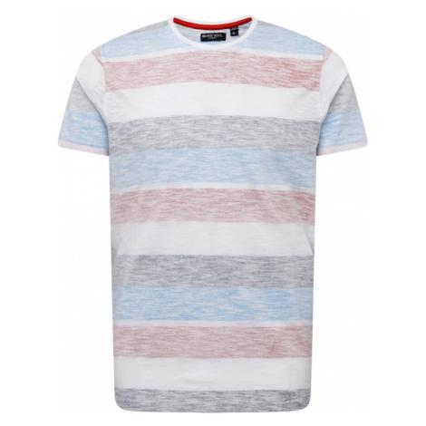 BRAVE SOUL Tričko 'RANGEX'  biela / pastelovo červená / svetlomodrá / baklažánová