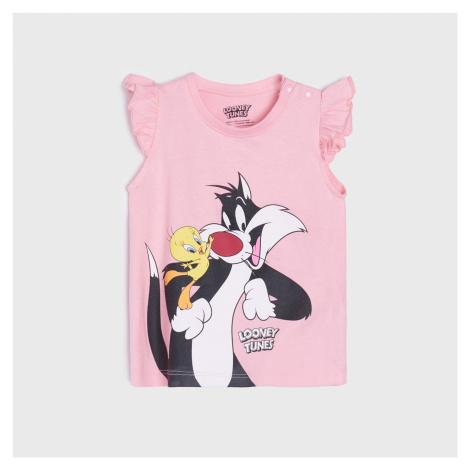 Sinsay - Tričko Looney Tunes - Ružová