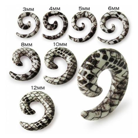 Slimák do ucha - bielohnedý expander s hadím motívom - Hrúbka: 8 mm
