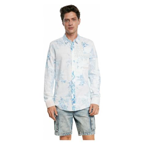 Desigual biele pánska košeľa Cam Alberico