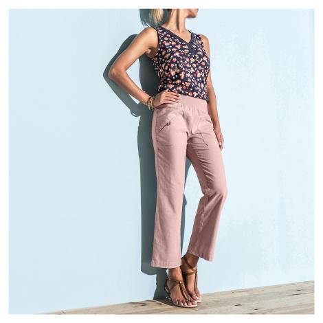 Blancheporte 7/8 nohavice ľan/bavlna ružová pudrová