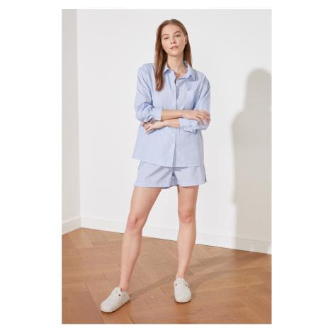 Trendyol Blue Striped Woven Pyjama Set