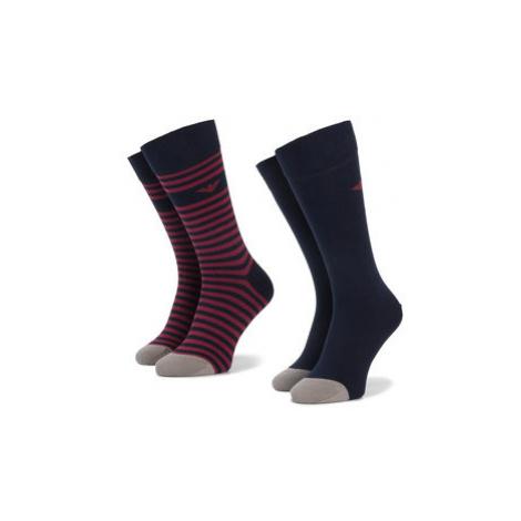 Emporio Armani Súprava 2 párov vysokých pánskych ponožiek 302302 9A293 14335 r. 39-46 Tmavomodrá