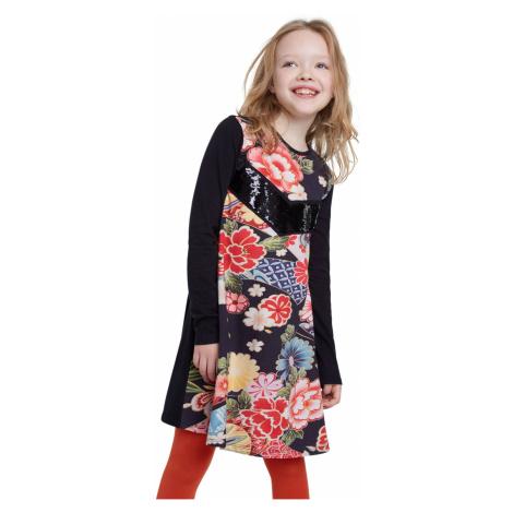 Desigual čierne dievčenské šaty Vest Minatitlán s farebnými motívmi