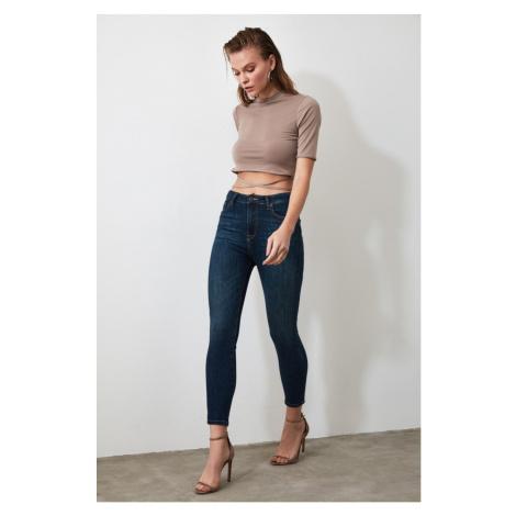 Trendyol Blue Open-end High Waist Skinny Jeans Navy