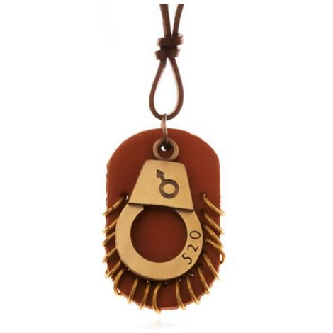Kožený náhrdelník - nastaviteľný, putá s číslom, hnedá známka s kruhmi