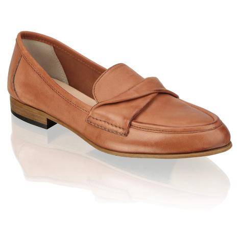 Pat Calvin hladká koža Klasická nazúvacia obuv hnedá