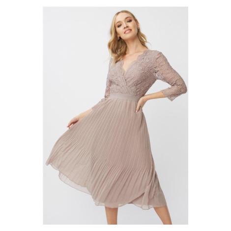 Midi šaty s háčkovanou čipkou Little Mistress