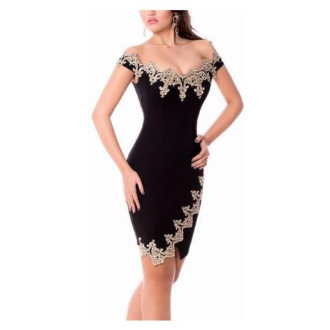 Dámske šaty s aplikáciou Vanda - čierne