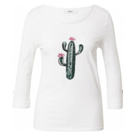 ONLY Tričko 'KITA'  biela / tmavozelená / ružová