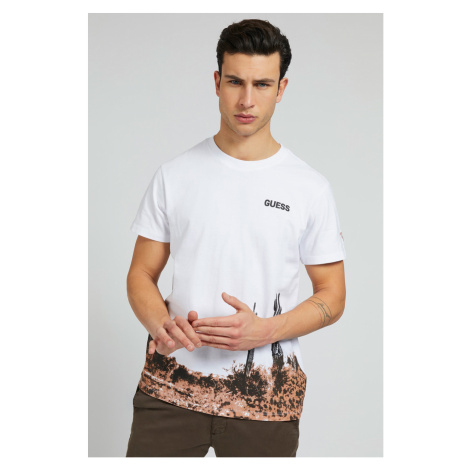 Guess biele pánske tričko Placed Print