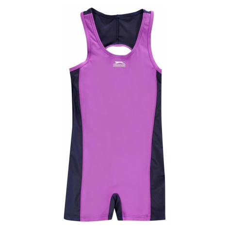 Slazenger Boyleg Swimming Suit Junior Girls Purple/Navy