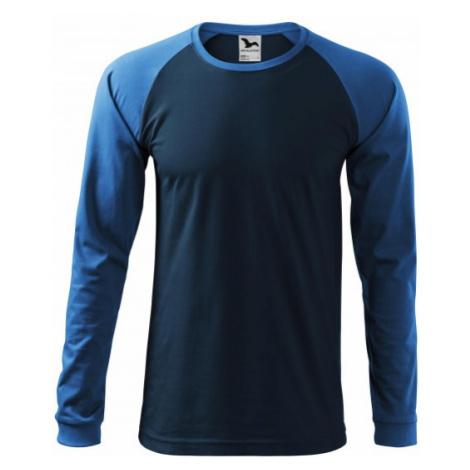 Pánske tričko s dlhým rukávom, kontrastné, tmavomodrá