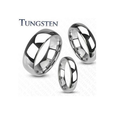 Wolfrámový prsteň - hladká lesklá obrúčka striebornej farby - Veľkosť: 54 mm, Šírka: 6 mm