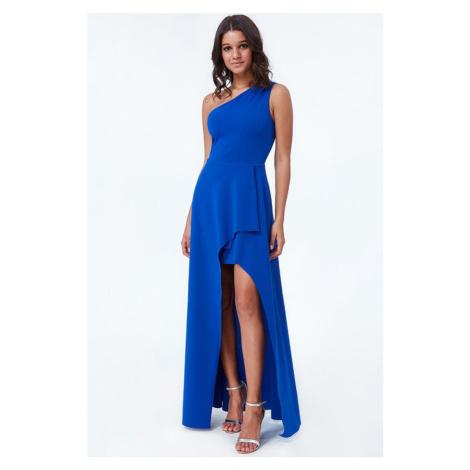 Modré šaty na jedno rameno