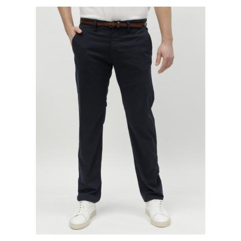 Tmavomodré pánske chino nohavice s opaskom Tom Tailor