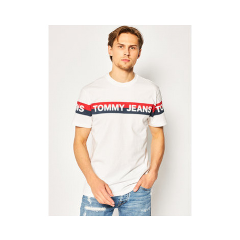 Tommy Jeans Tričko Tjm Double Stripe Logo DM0DM07862 Biela Regular Fit Tommy Hilfiger