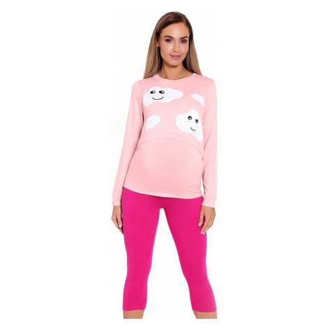 Dojčiace a tehotenské pyžamo Melany ružové s obláčikmi PeeKaBoo