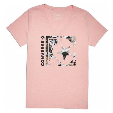Converse LINEAR FLORAL BOX STAR VNECK TEE ružová - Dámske tričko