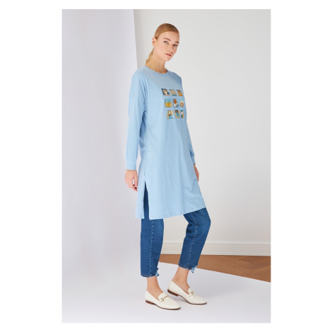 Trendyol Blue Printed Long Knitted Tunic
