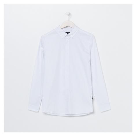 Sinsay - Hladká košeľa so stojačikom ECO AWARE - Biela