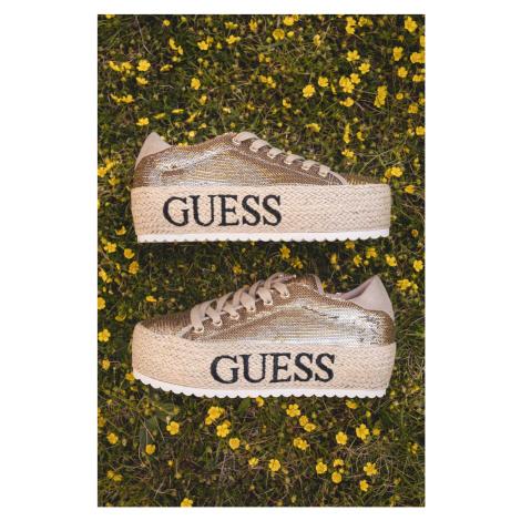Guess flitrované jutové tenisky na platforme