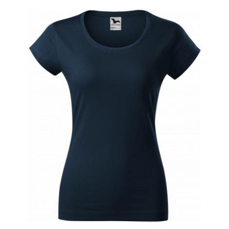 Dámske tričko zúžené s okrúhlym výstrihom, tmavomodrá