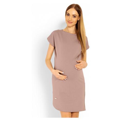Svetlohnedé tehotenské šaty 1629C PeeKaBoo
