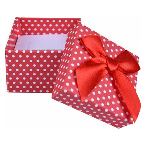 JK Box Červená Bodkovaná krabička na náušnice a prsteň KK-3 / A7 JKbox