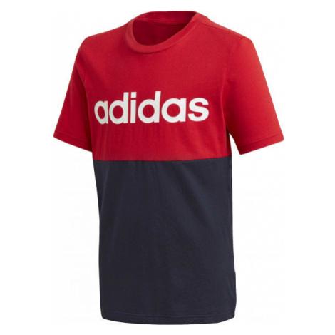 adidas YB LINEAR COLORBLOCK TEE červená - Juniorské tričko