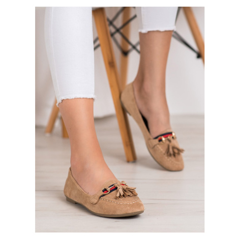 SHELOVET BEIGE LOAFERS WITH TASSELS shades of brown and beige