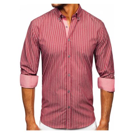 Bordová pánska pruhovaná košeľa s dlhými rukávmi Bolf 20731-1