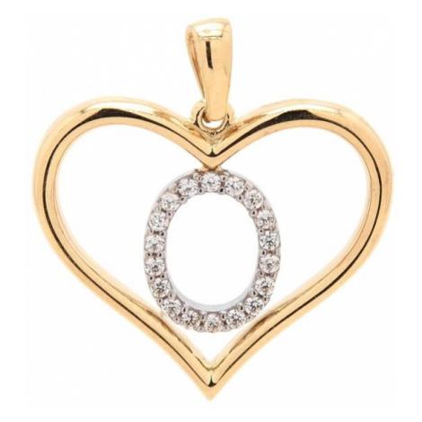 Zlatý prívesok písmenko O v srdci