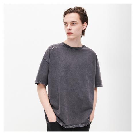 Reserved - Oversize tričko s vypraným efektom - Čierna
