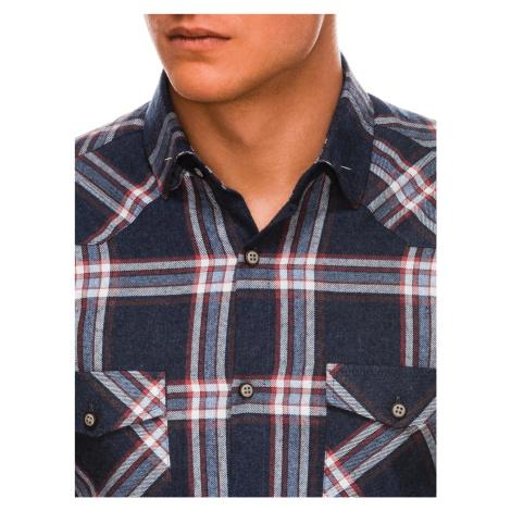Pánska kockovaná košeľa s dlhým rukávom Kevon tmavo modrá