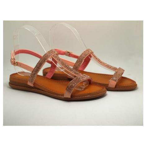 Ružové dámske sandálky s kamienkami  WS15-2 PINK