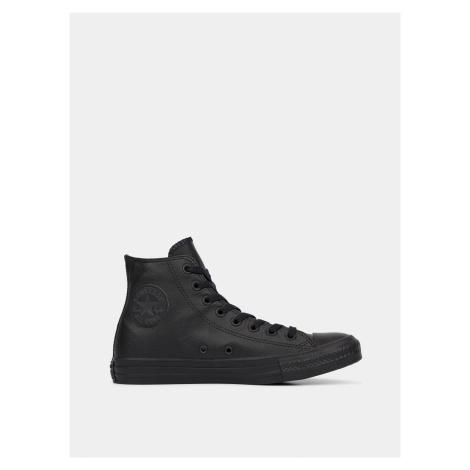 Čierne kožené členkové tenisky Converse