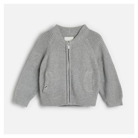 Reserved - Bavlnený sveter na zips - Svetlošedá