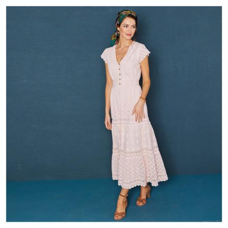 Blancheporte Dlhé šaty s čipkou a macramé ružová pudrová