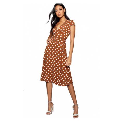 Boutique OLIVIA Hnedé bodkované zavinovacie šaty Boohoo