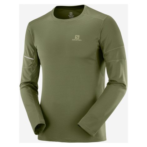 Pánske tričko Salomon Agile LS Tee olivovo zelené